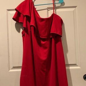 Red Hot Vince Camuto One Shoulder Dress 😍